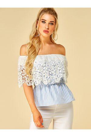 YOINS Lace Stripe Off The Shoulder Short Sleeves Top
