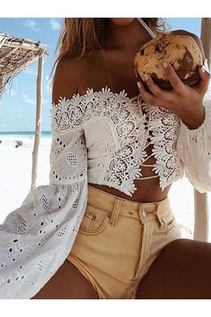 YOINS Crochet Lace Embellished Off The Shoulder Long Sleeves Tee