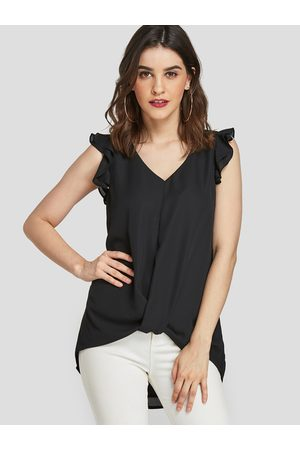 YOINS Twist Ruffle sleeves V-neck High-Low hem Tank Top