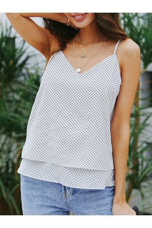YOINS White Adjustable Shoulder Straps Polka Dot V-neck Cami
