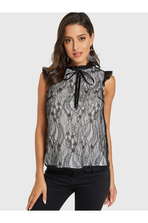 YOINS Lace Tiered Design Frill Neck Sleeveless Top