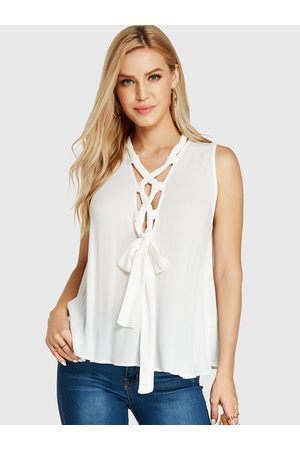 YOINS V-neck Lace-up Design Tank Top