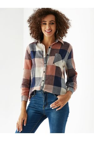 YOINS Women Shirts - Multi Check Classic Collar Button Front Blouse