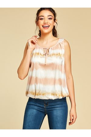 YOINS Stripe Tie-Dye Lace-up Design Tank Top