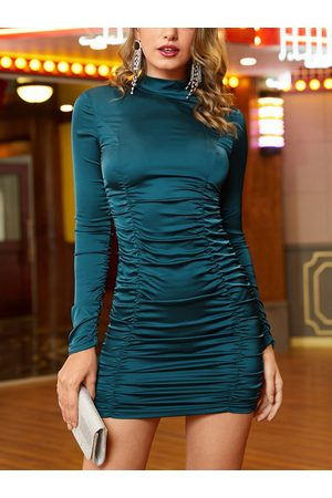 YOINS Stand Collar Long Sleeves Mini Ruched Dress