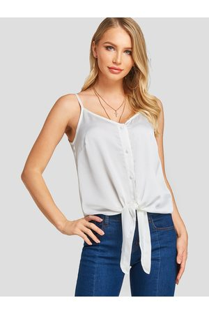 YOINS Spaghetti Strap V-neck Self-tie Design Tank Top