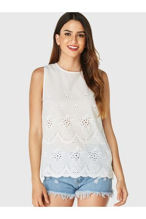YOINS Embroidered Hollow Round Neck Tank Top