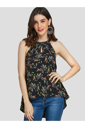 YOINS High-low Floral Print Halter Sleeveless Camis