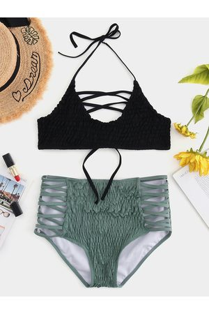 YOINS Lace-up Design Halter Shirring Bikini