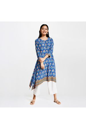 Global Desi Women Printed Three-Quarter Sleeves A-Line Kurta