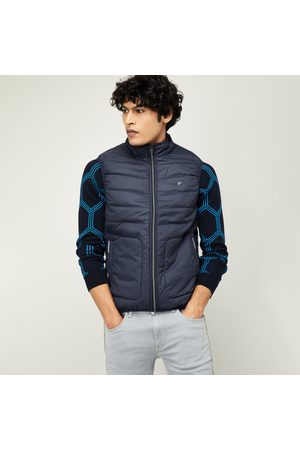 T-BASE Men Solid Padded Gilet Jacket