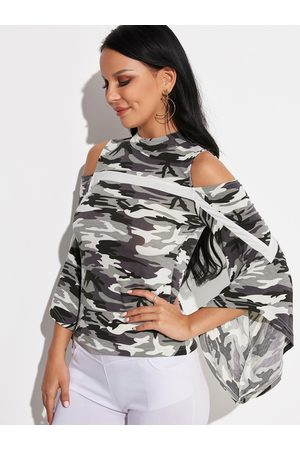 YOINS Camouflage Button Keyhole Design Cold Shoulder Bell Sleeves Blouses