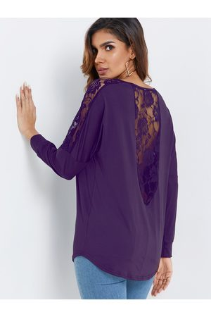 YOINS Long Sleeves Lace Insert See-through T-shirt