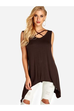 YOINS Coffee Lace-up Design V-neck Long Vest