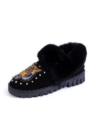 YOINS Women Ankle Boots - Tiger Pattern Rivets Embellished Fur-Lined Snow Boots