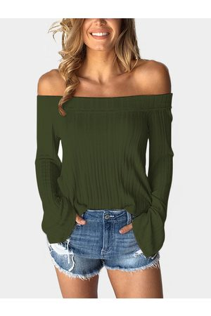 YOINS Women Tops - Army Off The Shoulder Bell Sleeves T-shirt