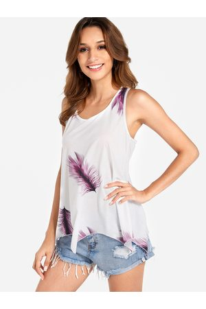 YOINS Women Vests - Lace-up Design Purple Feather Print Round Neck Sleeveless Tank Top