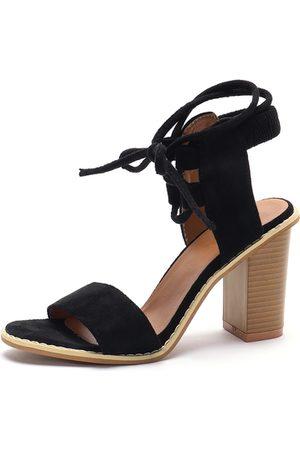 YOINS Suede Lace-up Chunky Heeled Sandals