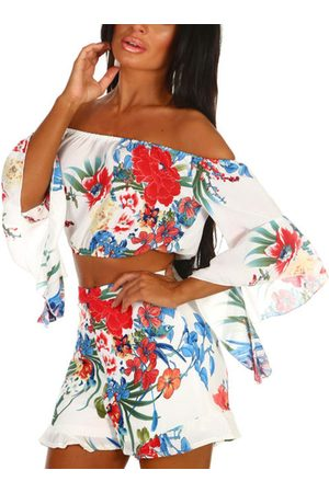 YOINS Floral Print Off The Shoulder Bell Sleeves Two Piece Outfits