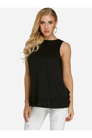 YOINS Lace Details Crew Neck Tank Top