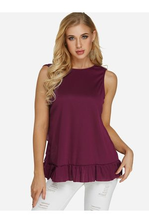 YOINS Women Vests - Lace Insert Crew Neck Sleeveless Tank Top
