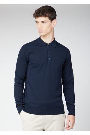 Ben Sherman Navy Long-Sleeved Knitted Polo Shirt