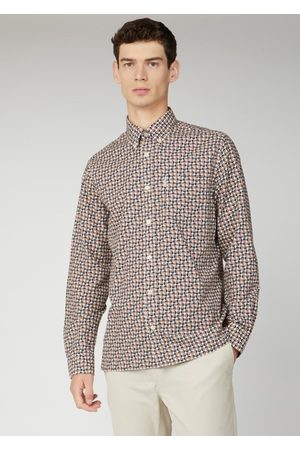 Ben Sherman Orange & Black Circle Geometric Pattern Shirt