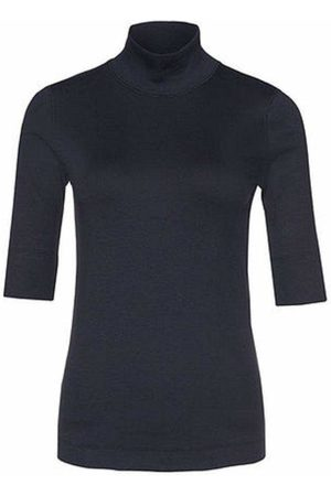 Marc Cain Basic Turtle-neck Top In Ribbed Jersey Navy +E 48.04 J50