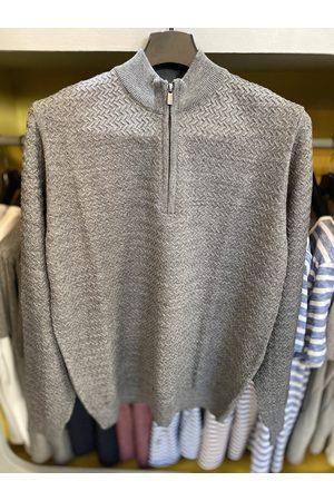 Remus Men Turtlenecks - Grey Textured Half-Zip Turtle-Neck Jumper
