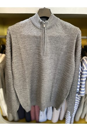 Remus Uomo Grey Textured Half-Zip Turtle-Neck Jumper