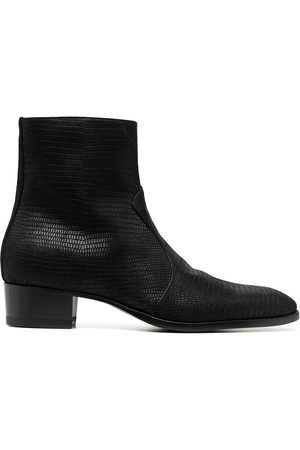 Saint Laurent Wyatt lizard-effect ankle boots