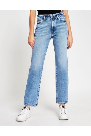 River Island Blair high rise straight cut ripped jeans in light