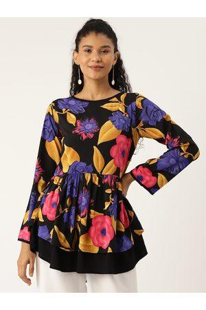 Cottinfab Women Black & Blue Floral Printed A-Line Top