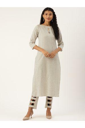 Cottinfab Women Off-White & Black Striped Kurta with Trousers