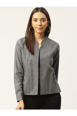 Cottinfab Women Grey Self Design Lightweight Open Front Jacket