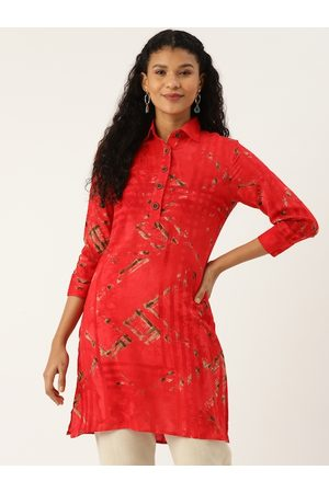 Cottinfab Women Red & Grey Printed Kurti