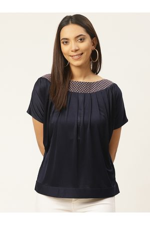 Cottinfab Women Navy Blue Solid Pleated Top