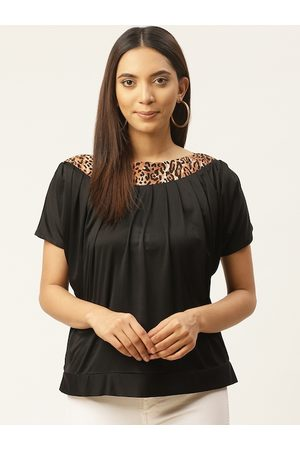 Cottinfab Women Black & Brown Solid Top