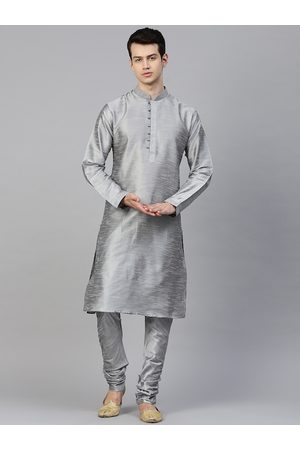MANQ Men Grey Solid Kurta with Churidar