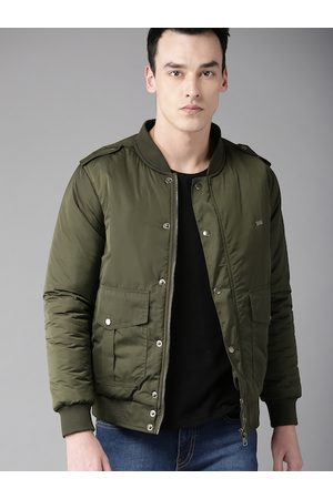 Roadster Men Olive Green Solid Bomber Jacket