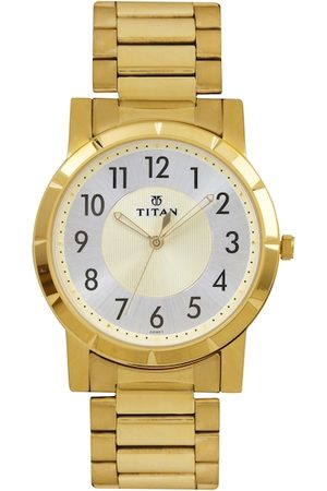 Titan Men Steel & Muted Gold-Toned Dial Watch 1647YM01