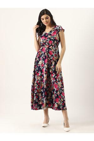 U&F Women Navy Blue & Pink Floral Print Maxi Dress