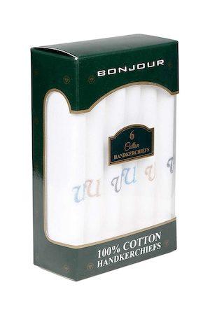 Bonjour Men Set Of 6 White Solid Handkerchiefs Gift Set