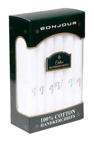 Bonjour Men Set Of 6 White Solid Handkerchiefs with V Initial