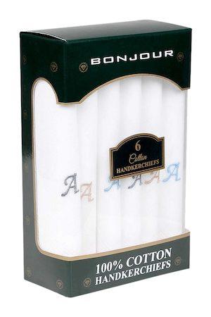 Bonjour Men Set of 6 White Solid Handkerchiefs