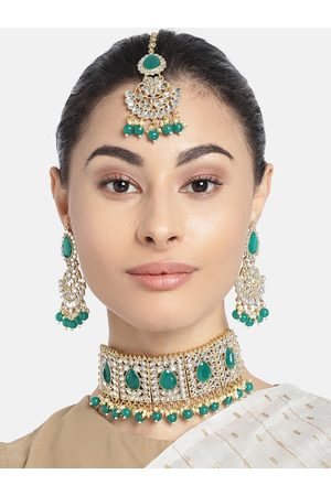 Peora Kundan Gold Plated And Green Faux Pearl Stone Studded Jewellery set