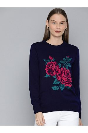 Chemistry Women Navy Blue Printed Pullover Sweater