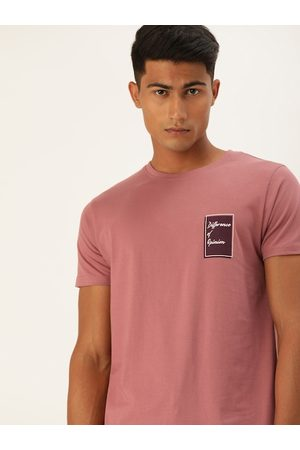 Difference of Opinion Men Pink Solid Round Neck T-shirt
