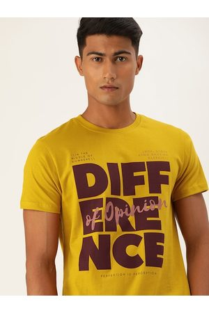 Difference of Opinion Men Mustard Printed Round Neck T-shirt
