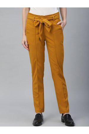 ATHENA Women Mustard Yellow Regular Fit Solid Peg Trousers